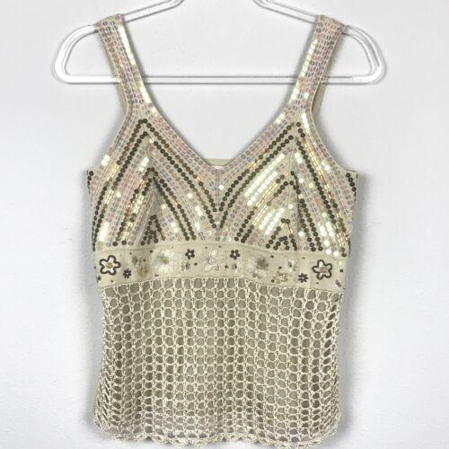 Mainbocher Women's size S Beige Sequin Crochet Cam