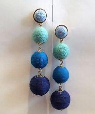 DESIGNER INSPIRED BLUE OMBRE TRIPLE THREAD BALL STATMENT POST BACK EARRINGS