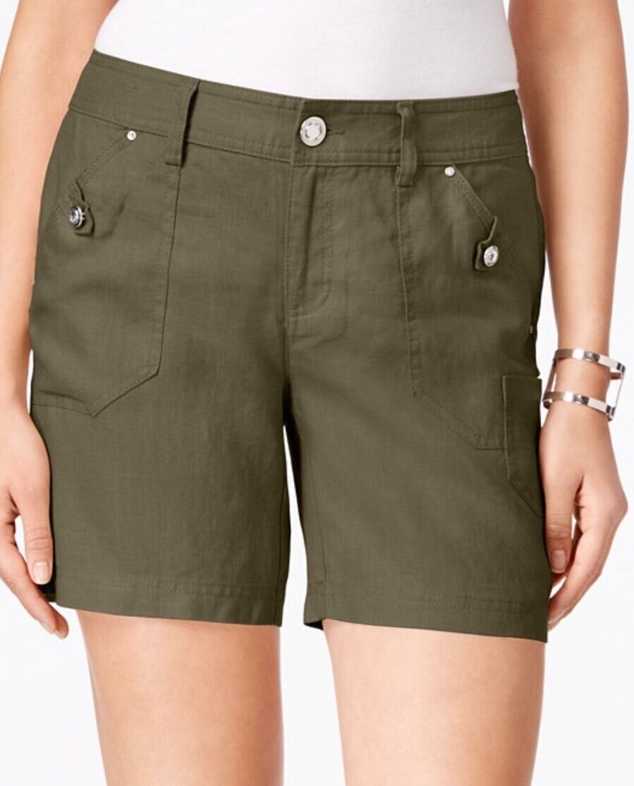 New INC International Concepts Linen Curvy-Fit Shorts Olive Drab Size 14