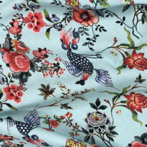 Cotton Elastane Stretch Jersey Fabric Floral Flower Cactus Bird Tangled Vines