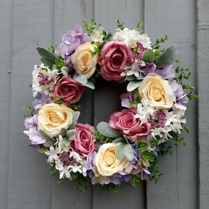 Spring Wreath Pastel Rose Floral Front Door Cottage Shabby Chic Home Decor Gift
