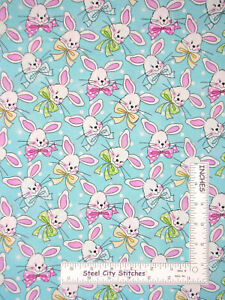 Easter-Bunny-Rabbit-Polka-Dots-Egg-Blue-Cotton-Fabric-Traditions-By-The-Yard