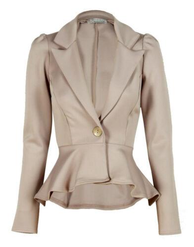 Ladies Long Sleeved Peplum Blazer Jacket Size 8-16