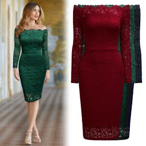 f18e61c49ead9 Women's Lace Bodycon Dress with Off the Shoulder Scallop Detail Lace ...
