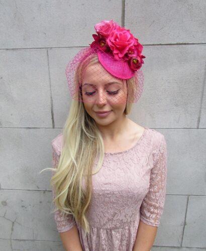 Hot Cerise Pink Rose Birdcage Veil Flower Hair Fascinator Hat Clip Races 5874