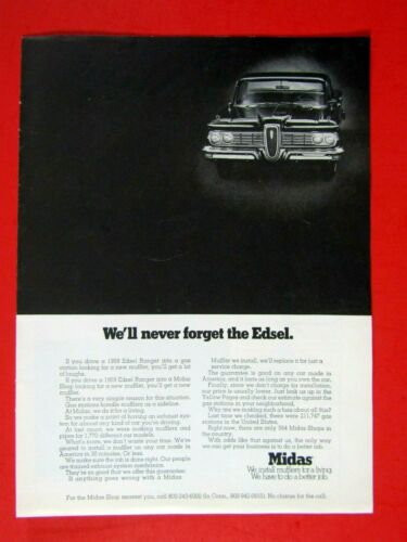 1959 Edsel 1970 Midas We/'ll Never Forget The Edsel Original Print Ad 8.5 x 11/""