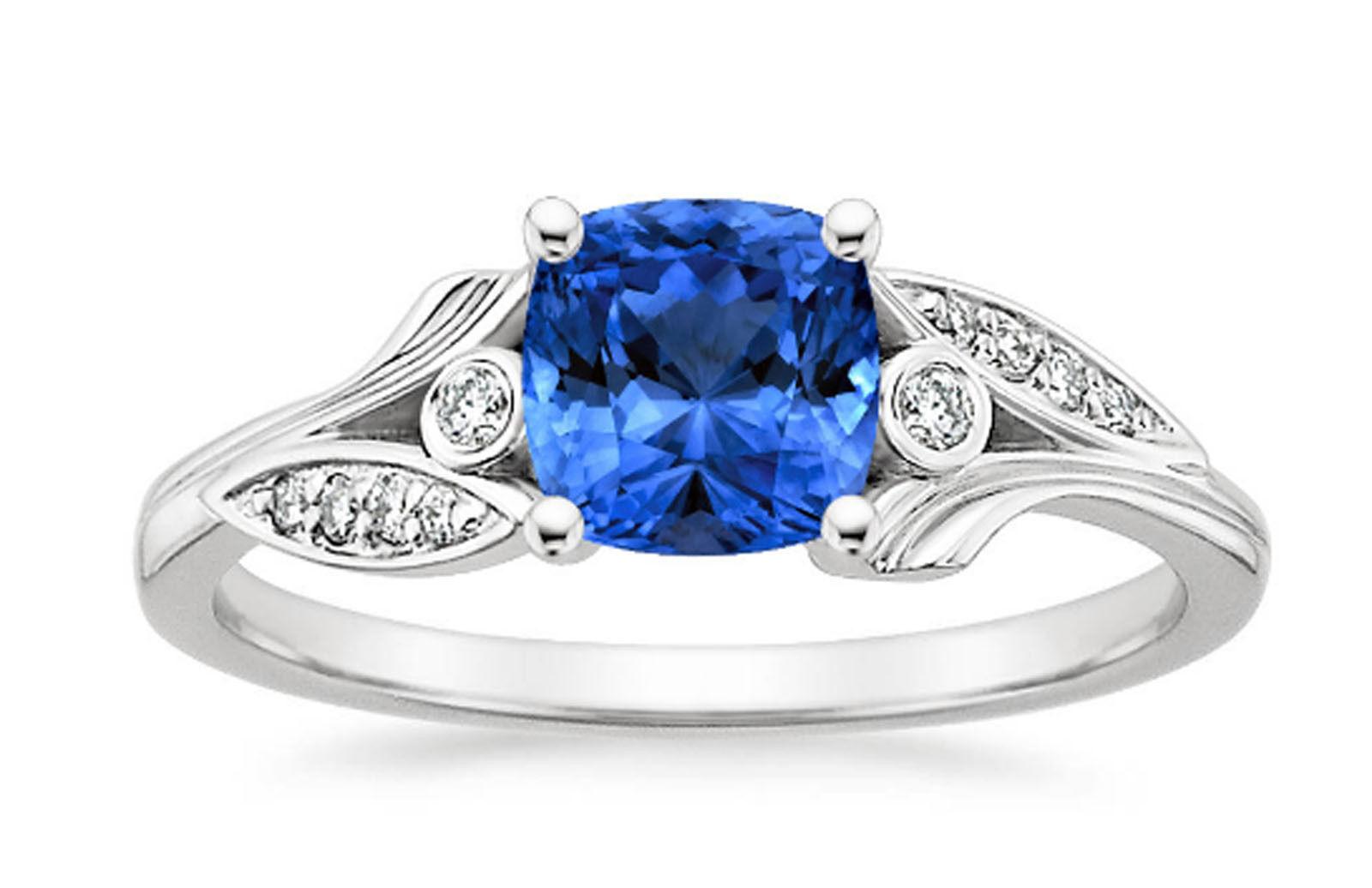 1.75 Ct Natural Sapphire Gemstone Diamond Engagement Rings 14K White gold Offer