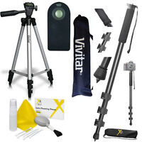 Pro 72 Monopod + 50 Vivitar Tripod + Remote Control For Nikon Dslr Cameras