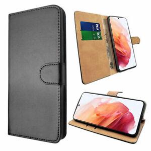 SDTEK Coque pour Samsung Galaxy S21 Housse Portefeuille Etui Cuir Flip (Noir)