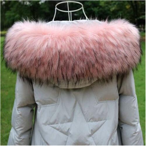 Women Faux Fur Hooded Collar Scarf Shawl Stole Cape Neck Warmer Winter Warm Wrap