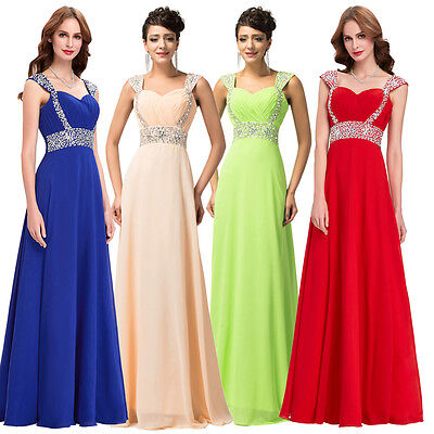 2016 SALE BEADED Long Cocktail Party Formal Evening Ball Prom Dress Wedding Gown