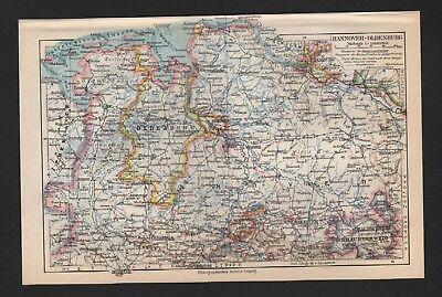 Nachdenklich Landkarte Map 1926: Hannover-oldenburg. Niedersachsen. BerüHmt FüR AusgewäHlte Materialien, Neuartige Designs, Herrliche Farben Und Exquisite Verarbeitung