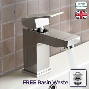 Aldo-Modern-Cloakroom-Bathroom-Chrome-Solid-Brass-Basin-Mixer-Tap-amp-Free-Waste