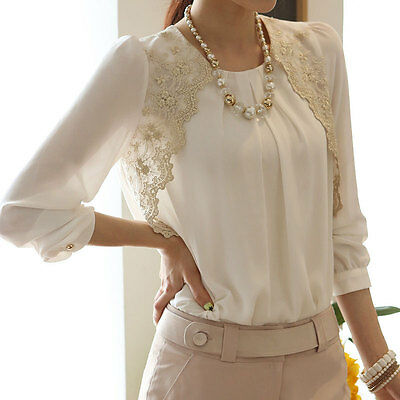 Women Summer Spring Long Sleeve Embroidered Chiffon Casual Tops Blouse Shirt New