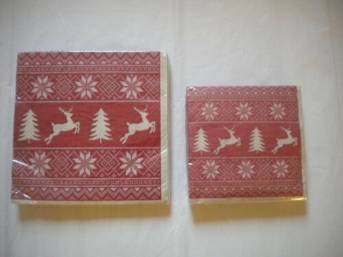 Paper Napkins LUNCHEON or Cocktail size Christmas Sweater 20 ct 2 ply Reingdeer