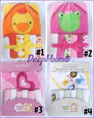 Towels & Washcloths Baby Clever Baby Bath Set 1 Hooded Towel 6 Washcloths Girls Boys Unisex Frog Princess New