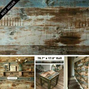 10m Vintage Wood Self Adhesive Wallpaper Vinyl Contact Paper Film 3D Peel/&Stick