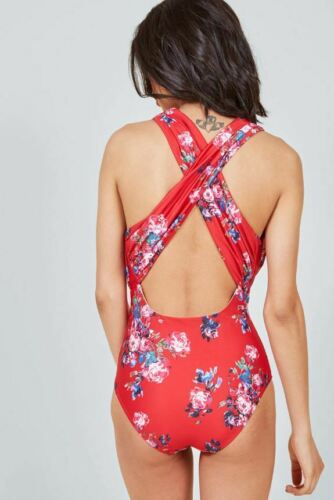 Modcloth The Lauren Red One-Piece Swimsuit US Large