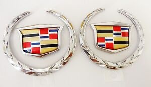 2 Cadillac  SRX Wreath /& Crest GOLD PLATED Roof Emblems