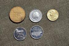 1979-1998 COINS BEATRIX KONINGINDER NEDERLANDEN 25 & 5 CENT FRANCAISE 5 LOT OF 5