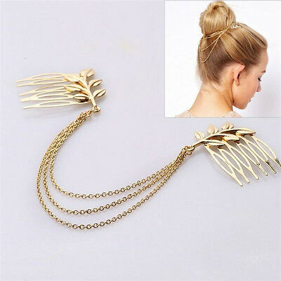 Women Vintage Retro Gold Long Tassel Cuff Style Chains Metal Hair Combs Hairband