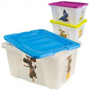 Box-mit-Motiv-und-Deckel-Spielzeugkiste-Stapelkiste-Aufbewahrungsbox-Kiste-21L