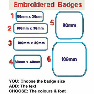 Embroidered-Personalised-Rounded-Rectangle-Badge-Text-Name-Colour-Iron-or-Sew-On