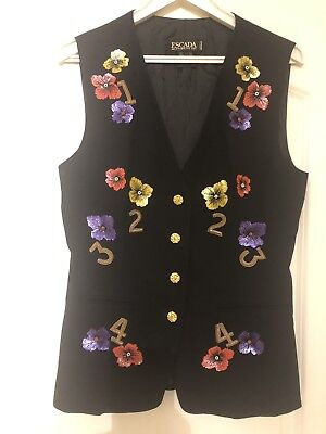 Vintage Escada by Margaretha Ley black wool with sequins 38 size s