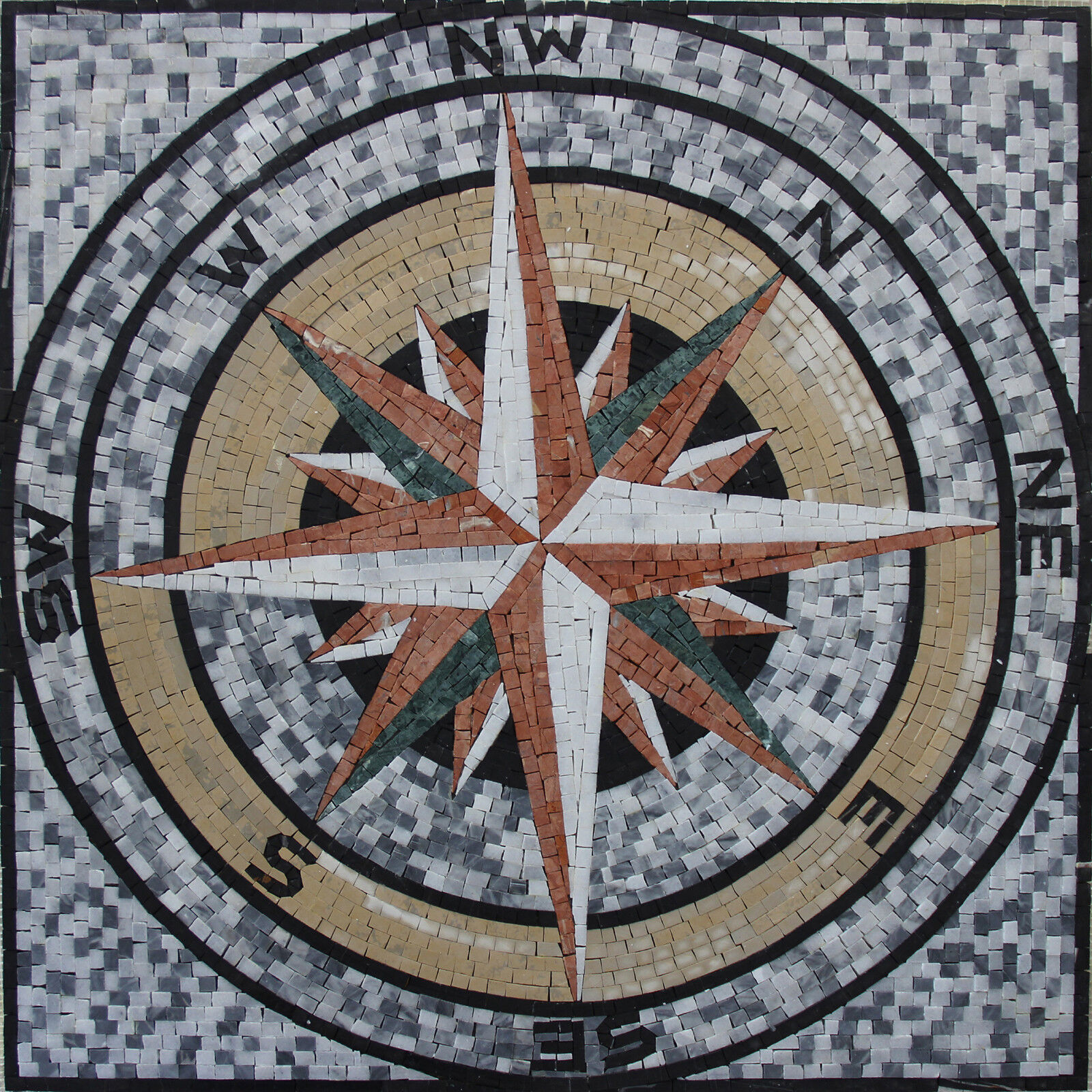 30 x30  Nautical Compass Home Navigation Marble Mosaic GEO2522