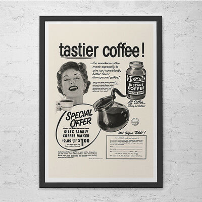 VINTAGE SANKA COFFEE Classic Coffee Ad Mid-Century Poster Retro Kitchen Ad