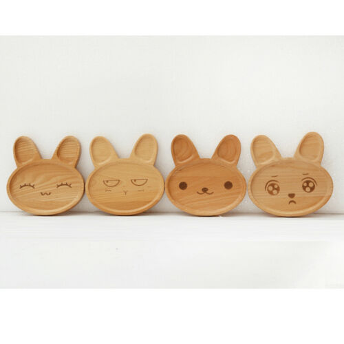 Wood Serving Tray Food Dishes Platter Rabbit Style Kids Wooden Plate