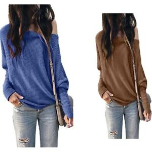 Solid-Women-039-s-Casual-Blouse-Long-Sleeve-Shirt-Tops-T-shirt-Ladies-Fashion-Loose