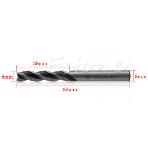 1PC Extra Long 8mm 3 Flute HSS /& Aluminium End Mill Cutter CNC Bit Extended