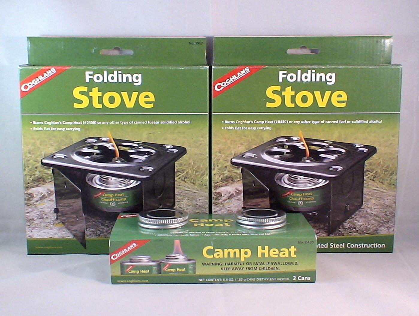 2 FOLDING EMERGENCY STOVE W 2 CANS STERNO TYPE FUEL CAMP HEAT STURDY LIGHT WARM