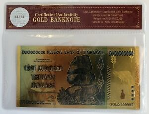 WR 2008 Zimbabwe 100 Trillion Dollars Banknote 24K GOLD Bank Note Gift COA PACK