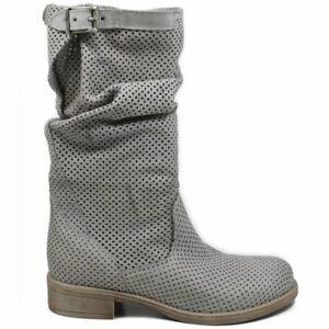 Dettagli su Stivali Stivaletti Traforati Biker Boots Estivi Donna Vera Pelle Grigio Leggeri