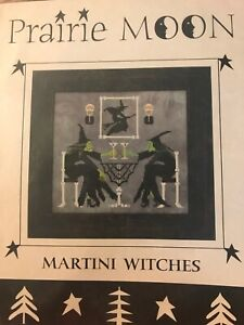 Martini-Witches-Prairie-Moon-Halloween-Cross-Stitch-Pattern-Witch-Skeleton-RARE