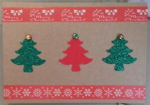 Glitter Christmas Cards.Details About Lovely Glitter Christmas Trees With Jewel Detail Christmas Cards Pack Of 5