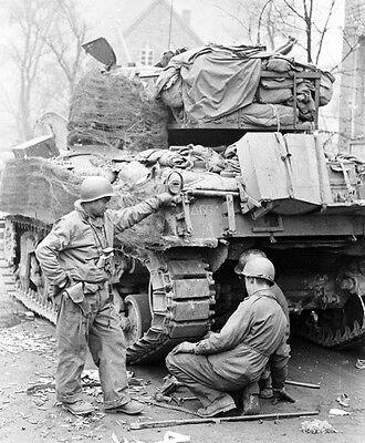 WW2 Photo WWII US M4 Sherman Tank Track Repar Germany 1945  World War Two / 3124