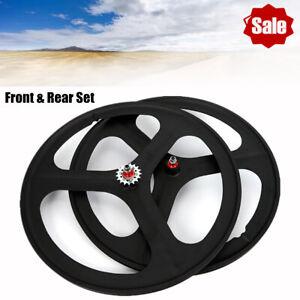 Fixed Gear Wheelset Rear Front Single Speed Bike Wheel Flip-flop 700c 3 Spoke US