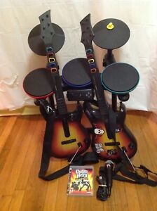 PS3-Guitar-Band-Hero-Set-Drums-Guitars-95451-805-Mic-Game-Playstation