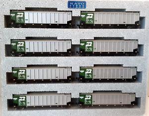 N-Scale-KATO-Bethgon-Protein-Gondola-039-Burlington-Northern-039-8-Car-Set1-106-4650