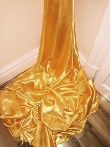 "147cm 1 mtr new yellow gold lining satin fabric..58"" wide"