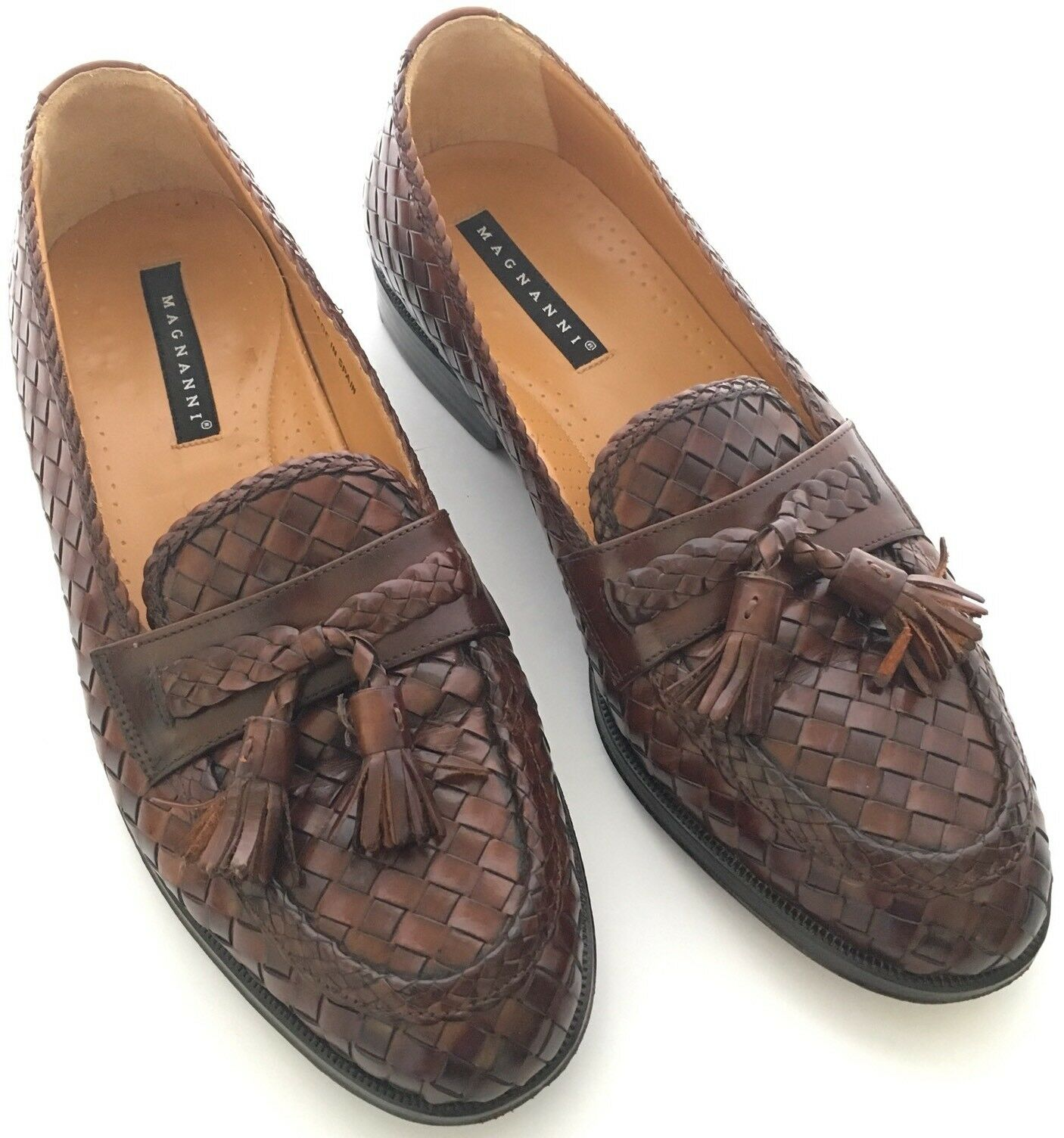 Magnanni Mens Brown Woven Leather Tassel Slip on Loafers size 9 US