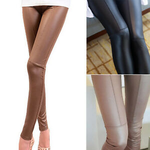 Sexy-Womens-High-Waist-PU-Leather-Pencil-Pants-Skinny-Leggings-Stretch-Trousers