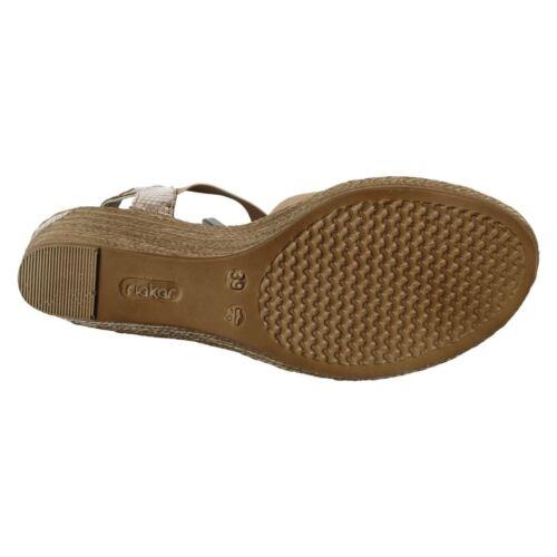 Gold Leather Rieker Wedge Summer Sandals 62479 Details about  /Ladies Black