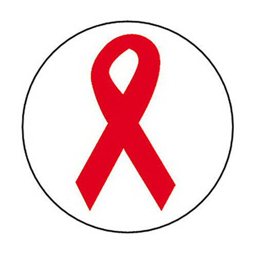 RED RIBBON pin button badge Heart and Aids Awareness