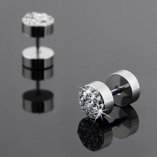 2Pcs Black Silver Men's Barbell Punk Stainless Steel Crystal Ear Studs Earrings
