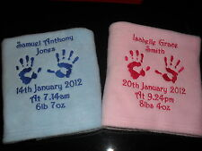 PERSONALISED BABY FLEECE BLANKET HAND OR FOOTPRINTS, PERFECT GIFT!!! L@@K!!!!