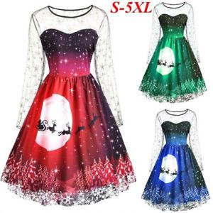 Details about Women Plus Size Vintage Christmas Print Mesh Long Sleeve  Evening Party Dress